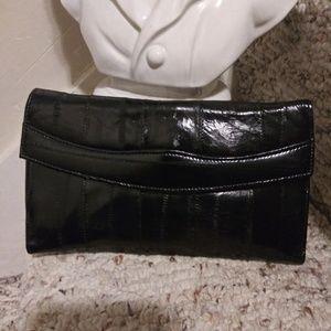 NWOT Vintage Black Eelskin Wallet